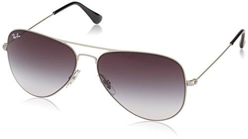 Ray Ban Unisex Sonnenbrille Aviator Flat Metal, Gr. Large (Herstellergröße: 58), Silber (Gestell: Silber, Gläser: Grau Verlauf 154/8G)