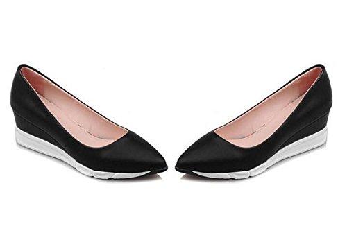 Scarpette da donna Wedge tallone chiuso le dita dei piedi della bocca poco profonda singoli pattini impermeabili black
