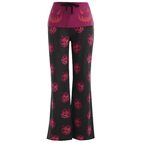 Licht Blau Popeline-hemd (Smonke Halloween Damen Fashion Pumpkin Print Hosen Frauen lässig Plus Size Pants Tunnelzughose Leggings aus Polyester mit hoher Taille komfortable Weite Hose weiche Schlafanzughose)