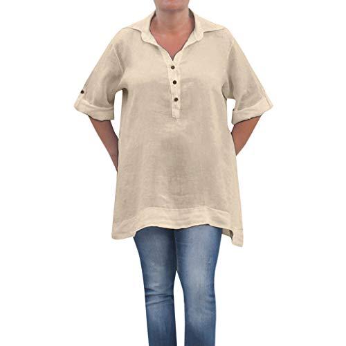 OverDose Damen Casual Frauen Stehkragen Langarm beiläufige lose Tunika Tops T Shirt Bluse Damen Sommer Herbst Langarmshirt Freizeit Oberteile - Vordere Weste Stricken