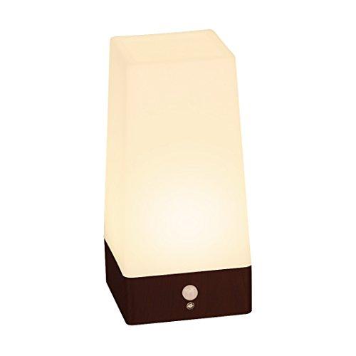 Signstek Wireless PIR Motion Sensor LED-Nachtlicht batteriebetrieben Tisch Lampe, Square (Wood Grain Base) 1.00