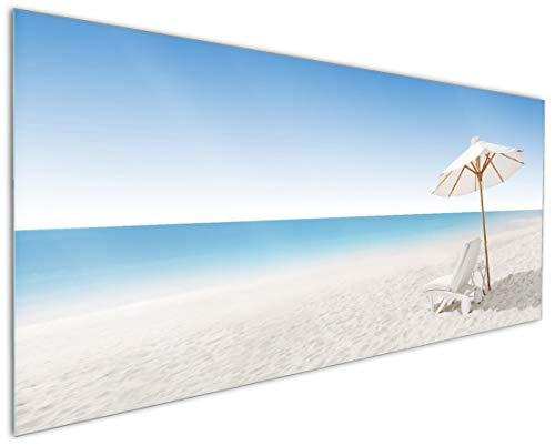 Wallario Küchenrückwand aus Glas, in Premium Qualität, Motiv: Sonnenliege am weißen Strand unter...
