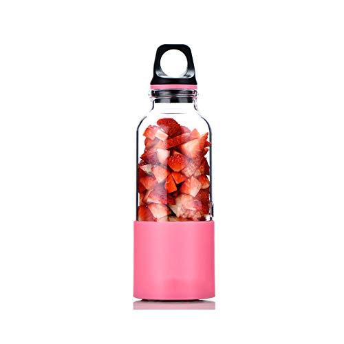Mini Batidora de Vaso para Fruta, Licuadora Portátil USB,con 2 Cuchillas, para Oficina en casa Viajes y Aire Libre (500ml),Pink