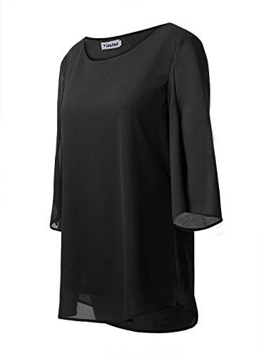 Yidarton Donna Camicia Estate Chiffon Manica 3/4 Con O-Collo Camicetta T shirt Top Nero