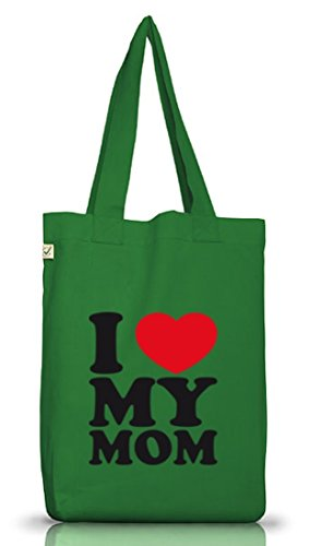 Shirtstreet24, I LOVE MY MOM, Muttertag Mutter Mama Jutebeutel Stoff Tasche Earth Positive Moss Green