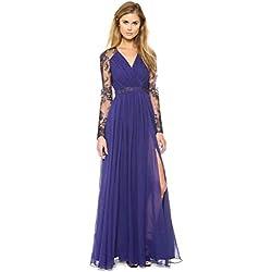 Aimerfeel Vestido de Encaje de Color Azul Oscuro de Manga Larga Vestido de Fiesta por la Noche a pie, tamaño L/36-38