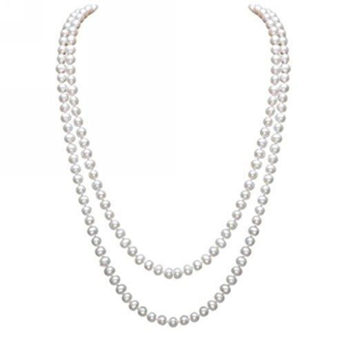 Chanel Schmuck Halskette Kostüm - Merida-elegante Dame Weiße künstliche Perlen-Halsketten -lange Strickjacke-Perlen-Ketten-Halskette