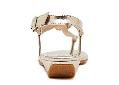 Wealsex Sandales Bohême Strass Bijou Flip flop Plates Femme Chaussures d'été Vacances Plage Voyage Fête Grande taille 40 41 Or
