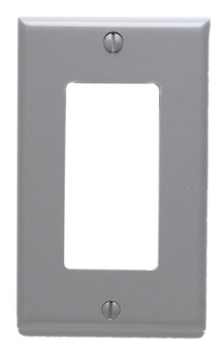 Leviton 80401-GY 1-Gang Decora/GFCI Device Decora Wallplate, Standard Size, Thermoset, Device Mount, Gray by Leviton - Gray Wall Plate