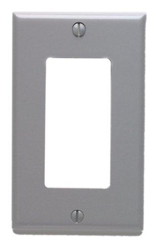 Leviton 80401-GY 1-Gang Decora/GFCI Device Decora Wallplate, Standard Size, Thermoset, Device Mount, Gray by Leviton -