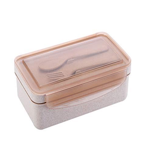 8haowenju Caja de Bento y Caja de Almuerzo de microondas, Caja de Almuerzo de cáscara de arroz, Cuchara Tenedor, últimos Modelos (UnitCount : Rice Husk Lunch Box)