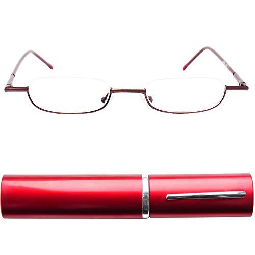 Leichte Metall Mini Halbbrille Lesebrille | Edelstahl Rahmen (Rot) | mit GRATIS Slim-Fit Alu Etui | Lesehilfe für Damen und Herren von Mini Brille | +3.0 Dioptrien