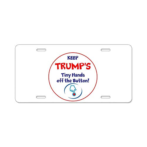 Keep Trumps Tiny Hands Off The Button Gifts Custom Personalized Aluminum Metal Novelty License Plate Cover Front Auto Car Accessories Vanity Tag- 6x12 Inches - Button Wall Plate