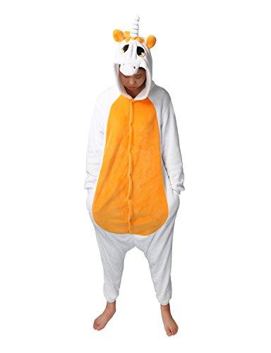 Pyjama Licorne Adulte Unisexe Kigurumi Licorne Combinaison Animaux Unicorn (S, Orange)