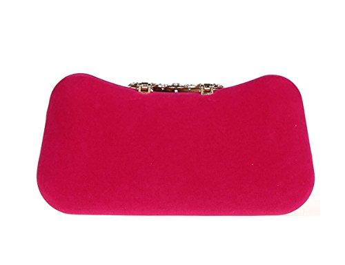 KAXIDY Velvet Sac Pochette Sacs de Soirée Partie Mariage Femmes Sacoches (Noir) Rose-rouge
