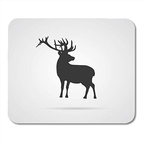 Deglogse Gaming-Mauspad-Matte, White Elk Gray Silhouette of Deer for World Environment Day and Other Animal and Ecology Projects Africa Mouse Pad -
