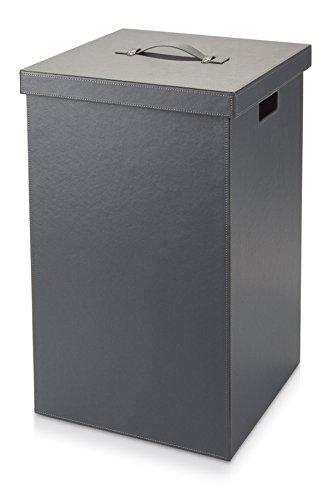 Möve'Cube Wäschekorb, Kunstleder, Grau 37 x 37 x 59 cm