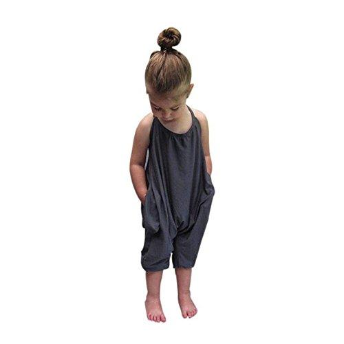 AMUSTER.DAN Baby Mädchen Sommer Overall Spielanzug Harem Hosen Outfits Kleidung (140, Grau) (4t Harem Hose)