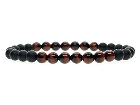 COAI® 6mm Bracelet de Méditation Reiki Perles Pierres Naturelles Semi-Précieuses Onyx Noir Mat Œil de tigre Rouge Unisexe 14-16cm