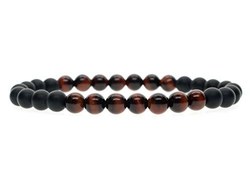 6mm Bracelet de Méditation Reiki Perles Pierres Naturelles Semi-Précieuses Onyx Noir Mat Œil de tigre Rouge Unisexe 14-16cm