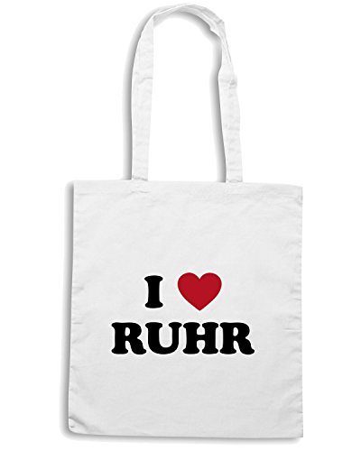 T-Shirtshock - Borsa Shopping TLOVE0066 i love ruhr (3) Bianco