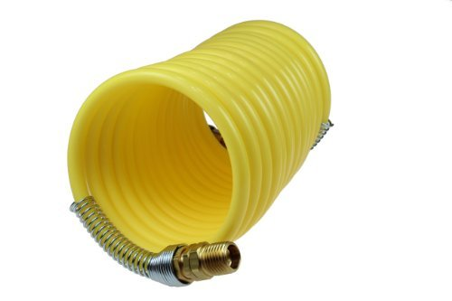 Coilhose Pneumatics N12-25 Coiled Nylon Air Hose, 1/2-Inch ID, 25-Foot Length with (2) 1/2-Inch Rigid Fittings by Coilhose Pneumatics -