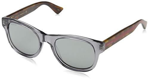 Gucci Unisex-Erwachsene GG0003S 005 Sonnenbrille, Grau (Grey/Silver), 52