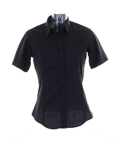 KUSTOM KIT New Damen City Work Short Sleeve Bluse Gr. 42, schwarz