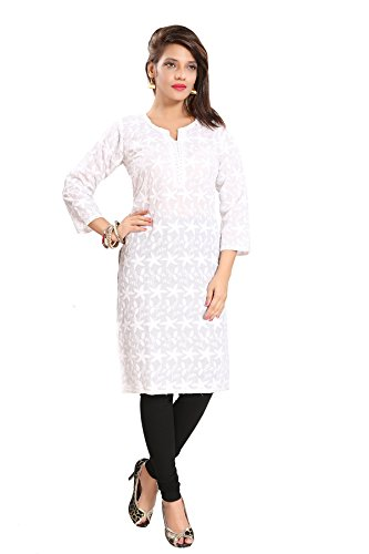 3045ce0d70e QueenShield Women s Formal and Casual Cotton Chikan Kurti (White