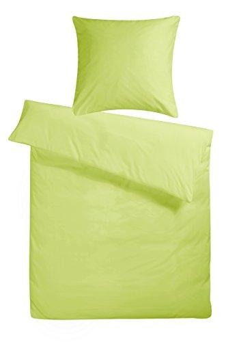 Carpe Sonno kuschelige Biber Bettwäsche 135 x 200 cm einfarbig grüne Winterbettwäsche mit Reißverschluss aus 100{02b66f9255e97c148edcad4a147416a4ca579139ddc4ef2474bb80dadb9a80d9} Baumwolle Flanell - 2-TLG Bettwäsche Set mit Kopfkissen-Bezug
