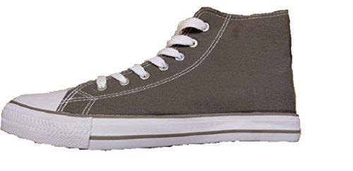 Scarpe plimsoll da uomo, in tela con punta in gomma, modello Baltimore/Academy, scarpe da ginnastica stringate, casual Grey Hi Top