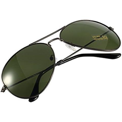 Fucile + Verde Scuro Occhiali Da Sole A Specchio Argento Uomini Donne Pilota Anti Glare f Occhiali mondo Eye Wear