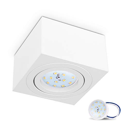 JVS Aufbauleuchte Aufbaustrahler Deckenleuchte Aufputz MILANO SMALL 5W LED Modul extra-flach Warmweiss 230V IP20 eckig weiss schwenkbar Strahler Deckenlampe Aufbau-lampe Downlight aus Aluminium