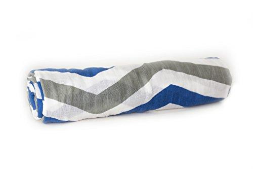 Nayla Baby Swaddle Stripes Boy blau/grau, Mulltuch 120x120 cm