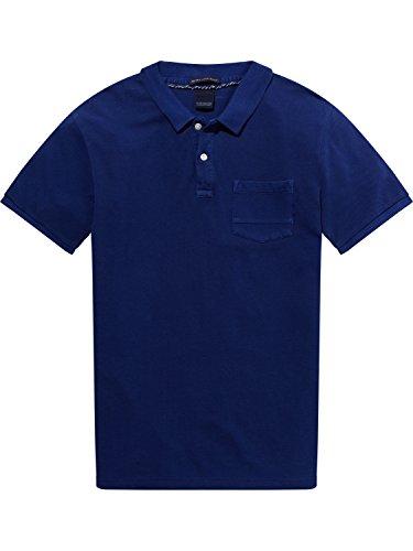 Scotch & Soda Herren Poloshirt Ams Blauw Garment Dyed Polo with Xxx Pocket Blau (Yinmn Blue 1742)