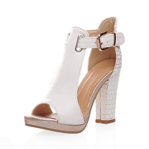 OLEEKA Damen Quadratische High Heel Sandalen Peep Toe Pumps Kunstleder T-Band Lady Party Kleid Hochzeit Schuhe, Weiß - weiß - Größe: 37 EU -