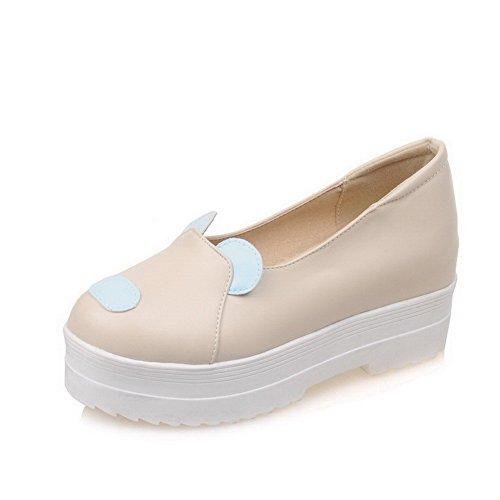 VogueZone009 Damen Rund Zehe Hoher Absatz Gemischte Farbe Ziehen Auf Pumps Schuhe Cremefarben