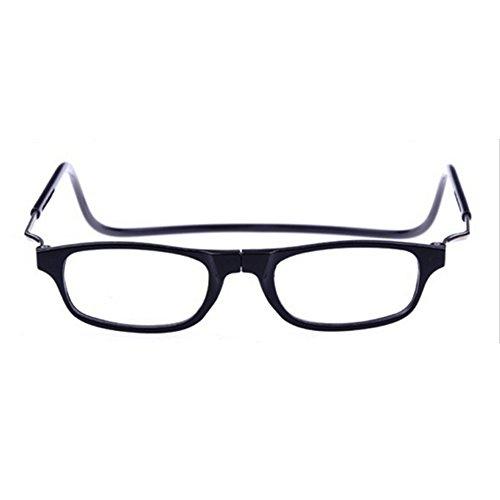Forepin Magnetverschluss Lesebrille Lesehilfe +1.5 Schwarz für Herren und Damen reg; Faltbare Einstellbare Trend Presbyopische Optics Gläser