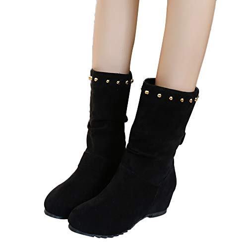 Stiefel Damen Boots Frauen Wildleder Stiefeletten Runde Zehe Keile Schuhe Halten Warme Booties Nieten Schuhe Schneestiefel ABsoar