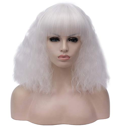 MOONQING Kurze farbige Flauschige Bob Haar Perücken Damenmode Frisuren benutzerdefinierte Cosplay Party Perücken, weiß (Bobs Möbel Kommoden)