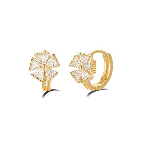 n Ohrringe Blume Runde Knorpel Klein aus 925 Sterling Silber Gold Plattiert mit Rundschliff Cubic Zirkonia Schmuck - Durchmesser: 10 mm ()