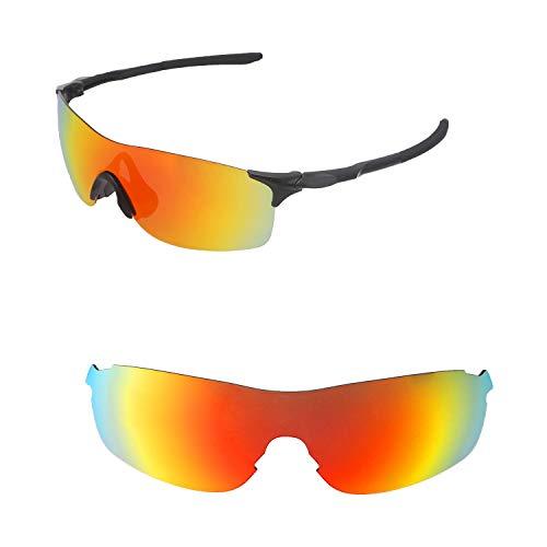 Walleva Ersatzgläser für Oakley EVZero Pitch Sonnenbrille - Verschiedene Optionen erhältlich, Unisex-Erwachsene, Fire Red Mirror Coated - Polarized, Einheitsgröße