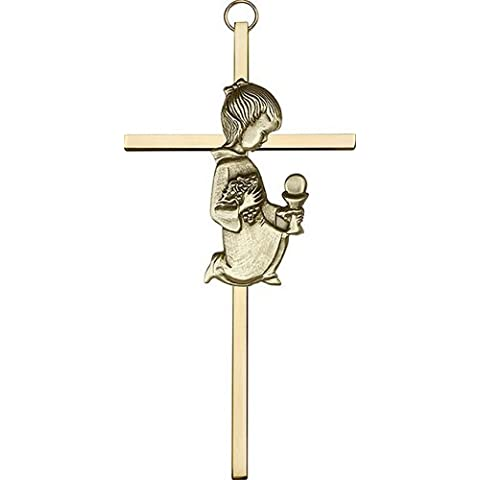 Icecarats Designer Di Gioielli Di 6 Pollici Oro Antico Comunione Ragazza Su Una Croce Di Ottone 6 X 3 Pollici