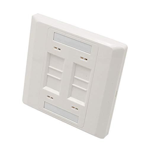 5 PCS - 4 Port Wallplate RJ11 RJ45 Socket Wall Mount Faceplate Panel,RJ11 Phone Jack RJ45 Network Keystone Plug Face Plate 86x86mm -