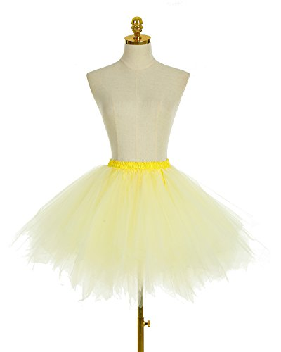 Dresstells jupon jupe ballet tutu court en tulle couleurs variées Jaune