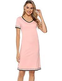 fcace4cbca8 Hawiton Femme Chemise de Nuit Coton Manche Courte Nuisette Col V Robe de  Nuit Pyjama Femme