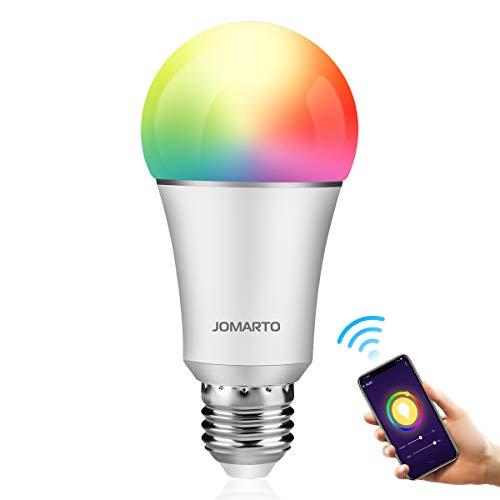 JOMARTO Smart LED Lampe, WIFI Lampe E27, 9W, 800LM Smart Lampe Wifi Smart  Birne RGBW dimmbar Wlan Glühbirne, APP gesteuert, weißes und buntes Licht,
