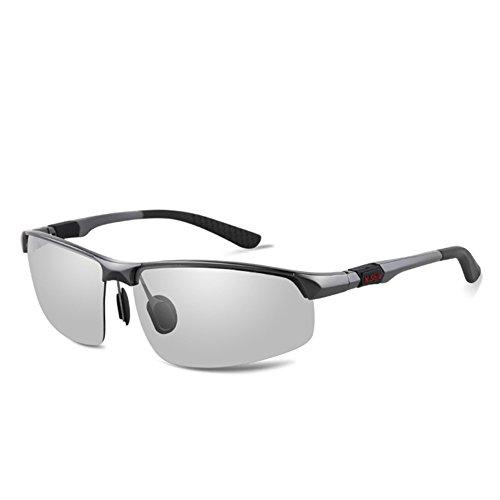 Männer Fahren Farbwechsel Sonnenbrille Smart Bi-Color Polarisierte Spiegel Blendschutz, Photochrome Gläser, Rectangle Sportbrillen Angeln Golf Goggles, Objektiv Farben Ändern Sich Unter Verschiedenen Lichtverhältnissen, Grau (Alle Wetter Aluminium-rahmen)