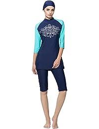 Ababalaya Badebekleidung Modest Muslim Swimwear Beachwear Burkini für Muslimische Frauen