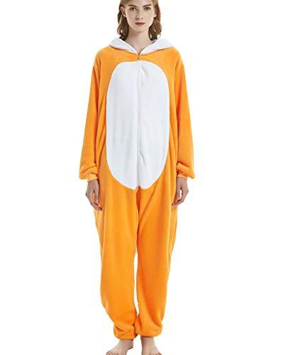 Jumpsuit Tier Pyjama Tierkostüme Erwachsene Schlafanzug Unisex Cosplay Schlafoveralls Nachtwäsche Fuchs XL(Höhe 173-183cm)